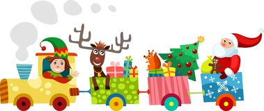 Christmas train. Illustration of a funny colorful train Stock Image