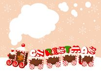 Christmas train background. Christmas train made of gingerbread, cream and candies background royalty free illustration