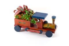 Christmas train beta. Wooden Christmas train with ribbon royalty free stock photo