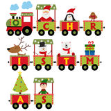 Christmas train with characters Royalty Free Stock Photos