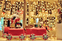 Christmas train decoration. With bokeh background stock image