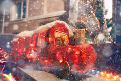 Christmas train decoration city holiday Stock Photo