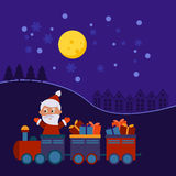 Christmas train with gifts Royalty Free Stock Image