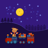 Christmas train with gifts Stock Photos