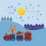 Christmas train with gifts Stock Photo
