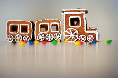 Christmas train made of gingerbread Royalty Free Stock Photo