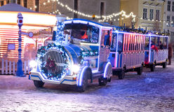 Christmas train in old city of Tallinn Royalty Free Stock Images