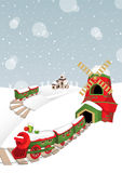 Christmas train in a snow village D Royalty Free Stock Images