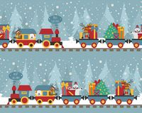 Free Christmas Train With Bear, Reindeer, Gifts. Seamless Pattern For Royalty Free Stock Images - 127656229