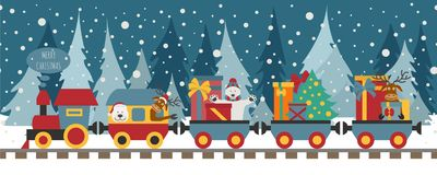 Free Christmas Train With Bear, Reindeer, Gifts. Seamless Pattern For Stock Images - 127656234
