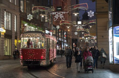 Christmas Tram At Masaryk Street In Brno Stock Images