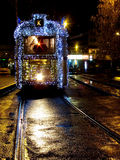 Tram with Christmas lights in Budapest Stock Images