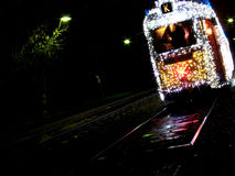 Christmas tram in Budapest. A christmas lightened tram at Budapest somewhere in the suburbs royalty free stock image