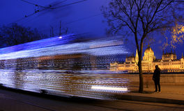 Christmas tram in Budapest Royalty Free Stock Images