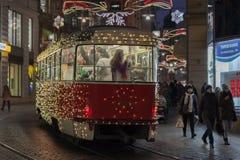 Christmas tram at Masaryk street in Brno Royalty Free Stock Image