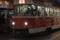 Christmas tram at Masaryk street in Brno Royalty Free Stock Images