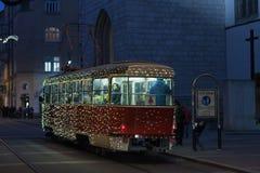 Christmas tram at Rasinova street in Brno Royalty Free Stock Image