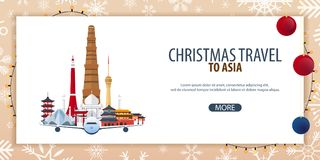 Christmas Travel to Asia. Winter travel. Vector illustration. Royalty Free Stock Photography