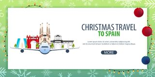 Christmas Travel to Spain. Winter travel. Vector illustration. Royalty Free Stock Photography