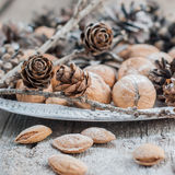 Christmas Tray with Pine cones, Walnuts, Almonds Royalty Free Stock Image