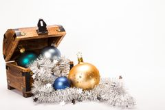 Christmas Treasure Chest Xmas Balls Decoration Royalty Free Stock Image
