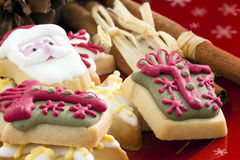 Christmas Treats. Christmas cookies on a plate ready for the snacking to begin royalty free stock photography