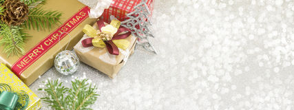 Christmas treats banner in 8 x 3 resolution. Various Christmas decorations banner in 8 x 3 resolution Stock Photo