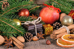 Christmas treats, dessert and decorations Stock Images