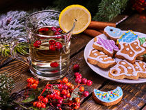 Christmas treats glass latte mug lemon and cookies on plate . Christmas glass mug and Christmas multicolored cookies on plate with fir branches. Mag decoration stock photography