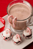Christmas Treats Marshmallows with Candy Canes and Hot Chocolate. Mug of Hot chocolate with marshmallows and candy canes Christmas treats Royalty Free Stock Photo