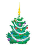 Christmas tree. Christmas fir tree isolated on a white. Vector illustration Royalty Free Stock Photos