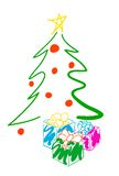 Christmas Tree. And presents illustration. Fun stock illustration