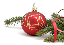 Christmas tree. Red christmas ball with the twig of the spruce Royalty Free Stock Photos