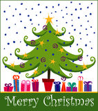 Christmas tree. Cheery vector christmas tree with nine different presents (easily separated with layers) under the tree stock illustration