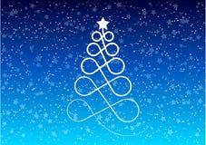 Christmas tree. Stylized christmas tree on the blue background Stock Photos