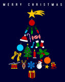 Christmas Tree. A Christmas tree made up of colorful ornaments, isolated on a dark background. Useful also as greetings card. Eps file available Stock Images