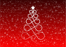 Christmas tree. Stylized christmas tree on the red background Stock Photography