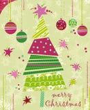 Christmas tree. Christmas card with tree and balls: digital collage stock illustration