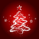 Christmas tree. Modrn christmas tree, red background Royalty Free Stock Image