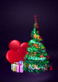 Christmas tree. Fluffy christmas tree of light with two big red hearts and presents. 3D Stock Photos