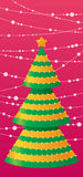 Christmas  tree. Christmas card with tree and garlandes Stock Photography