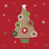 Christmas tree. Made from brown paper and cut out decorations stock illustration