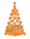Christmas tree. On white background, digital drawing vector illustration