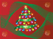 Christmas Tree. With multicolor balls, stars and ornaments illustration royalty free illustration