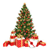 Christmas tree. With baubles and stars ornaments and gifts Stock Images