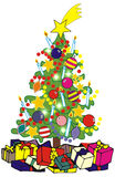 Christmas tree. New year nad christmas tree decoration and ornaments Vector Illustration
