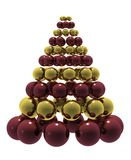 Christmas tree. Christmas composition with red and gold baubles. High quality 3D render Stock Image