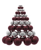 Christmas tree. Christmas composition with red and silver baubles. High quality 3D render Royalty Free Stock Photo