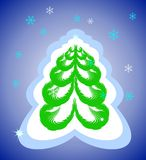 A christmas tree. On blue background Royalty Free Stock Image