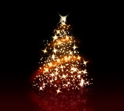 Christmas Tree. Glowing Christmas tree with a lot of glittering sparks Stock Images